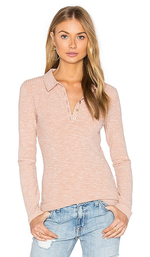 MINKPINK Rib Polo Top in Beige