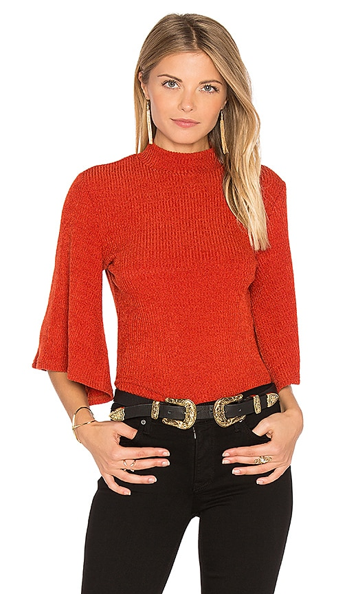MINKPINK Rib Flare Sleeve Reversible Top in Rust
