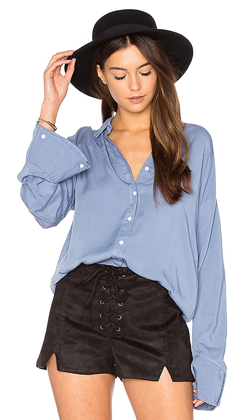 MINKPINK Flare Cuff Washed Shirt in Blue