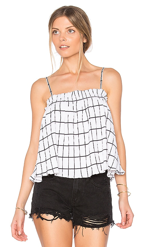 MINKPINK Check Ruffle Trapeze Top in White