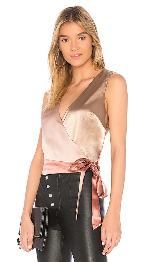 MINKPINK Colour Block Wrap Top in Metallic Gold