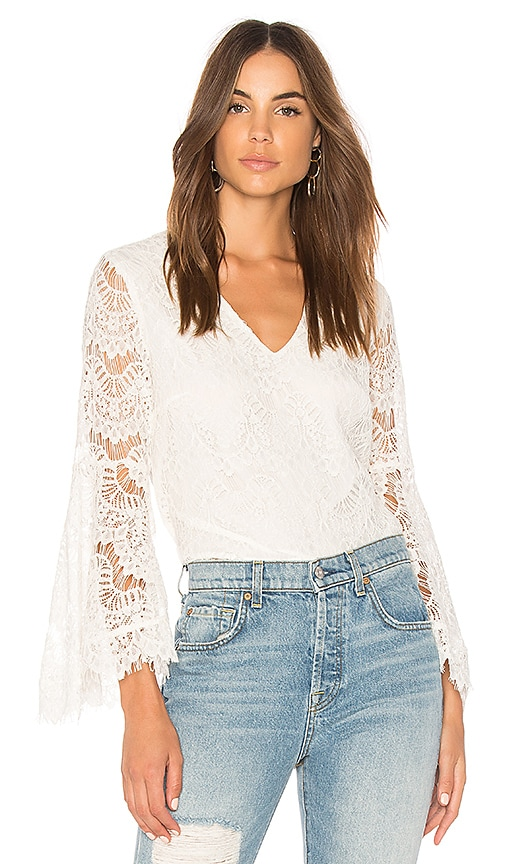 MINKPINK Tainted Love Lace Blouse in White