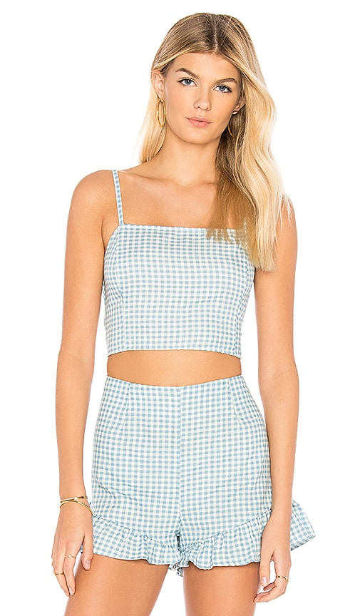 MINKPINK Toto Gingham Top in Baby Blue