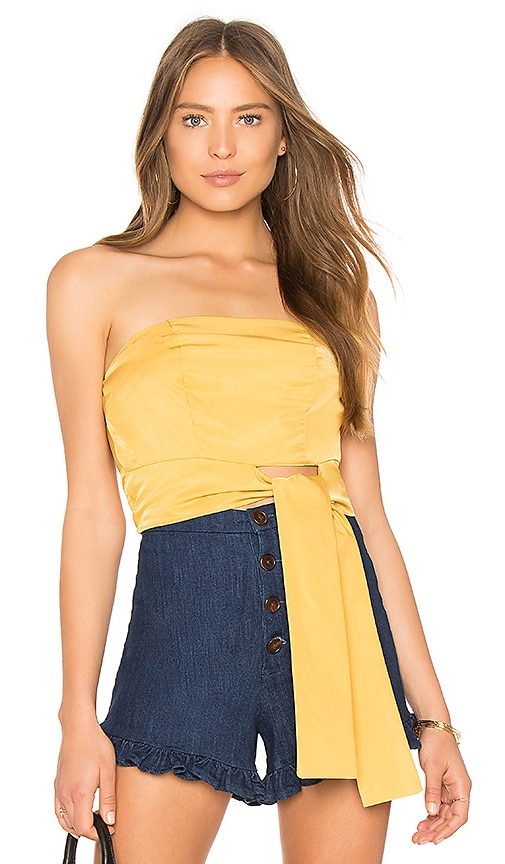 MINKPINK Tie Front Strapless Top in Mustard