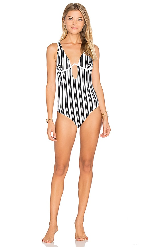 MINKPINK Show Your Stripes One Piece Swimsuit in Black & White