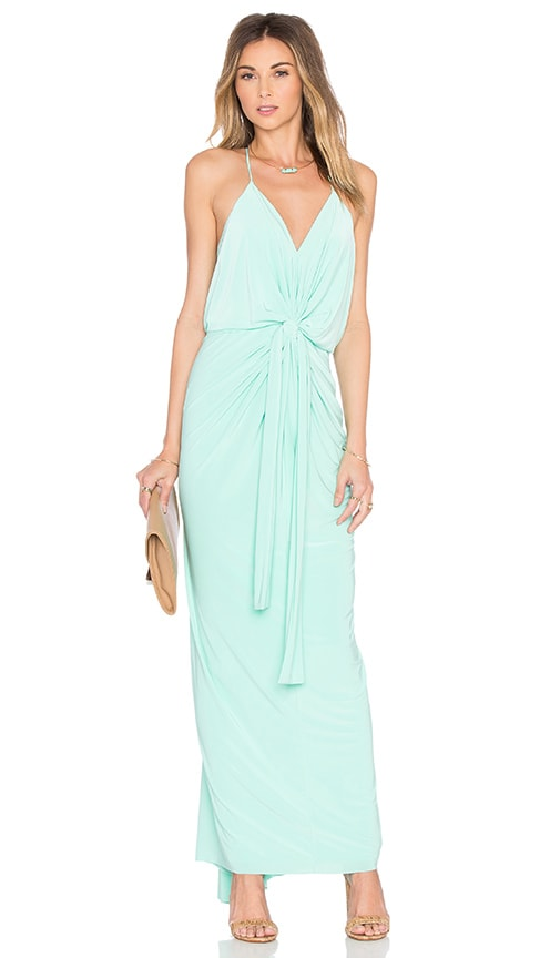MISA Los Angeles Domino Tie Front Maxi Dress in Turquoise
