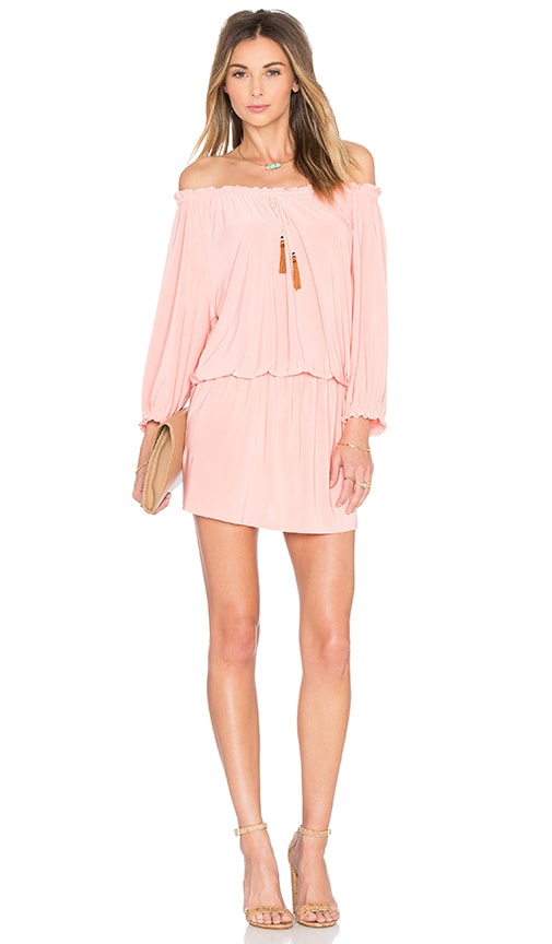 3d6f6fd405c135 MISA Los Angeles Poppy Off the Shoulder Dress in Blush | REVOLVE