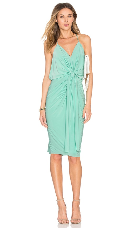 MISA Los Angeles Domino Tie Front Midi Dress in Mint