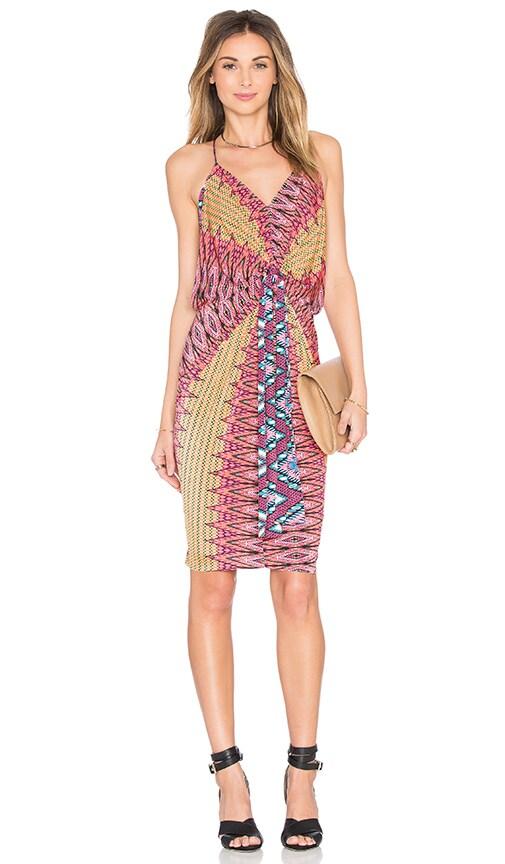MISA Los Angeles Domino Tie Front Mini Dress in Summer Ikat