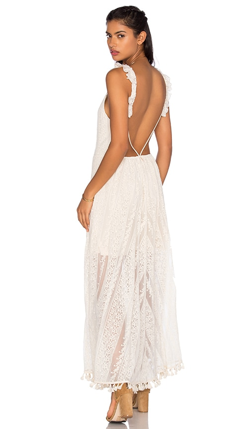 MISA Los Angeles Cassie Maxi Dress in Natural Crochet