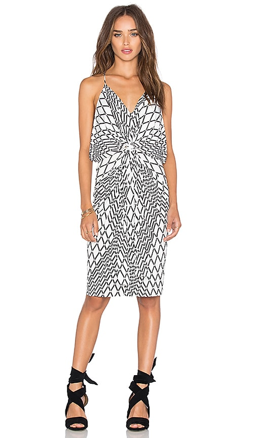 MISA Los Angeles Domino Tie Front Mini Dress in White Tiles
