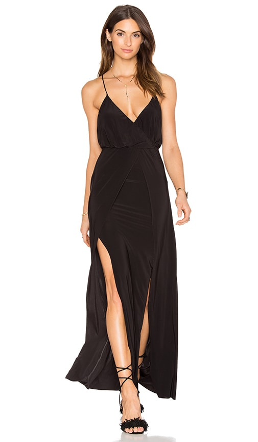 MISA Los Angeles Nola Double Slit Maxi Dress in Black