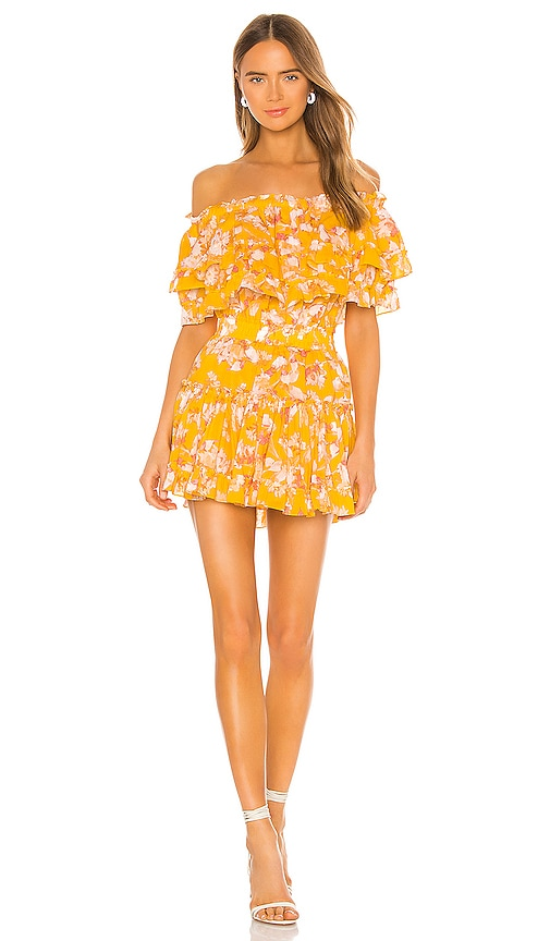 Misa Luella Dress In Yellow Washed Wildflower