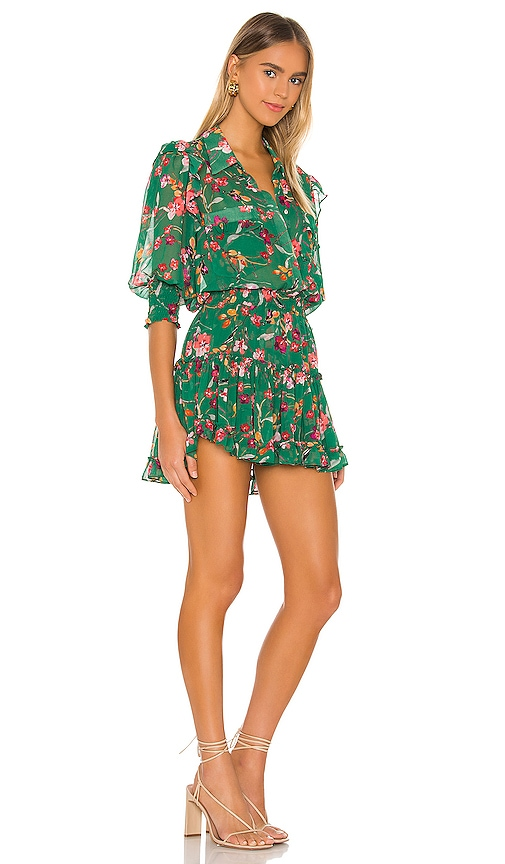 MISA Los Angeles Lillian Dress in Green Kelly Blooms Print