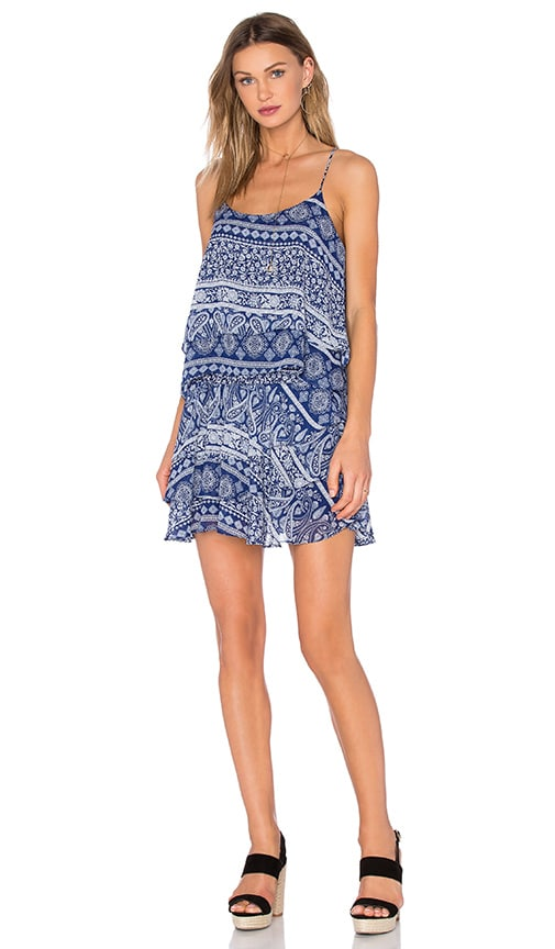 MISA Los Angeles Tamara Ruffle Mini Dress in Santorini Blue