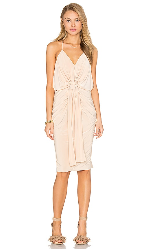 MISA Los Angeles Domino Midi Dress in Nude