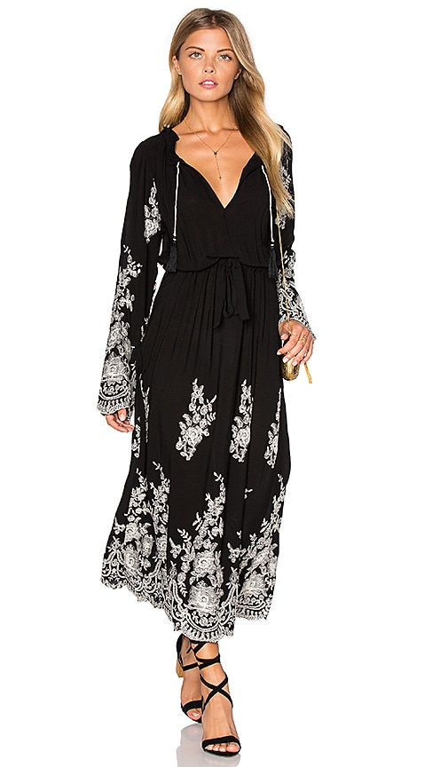 MISA Los Angeles Gabrielle Dress in Black Embroidered
