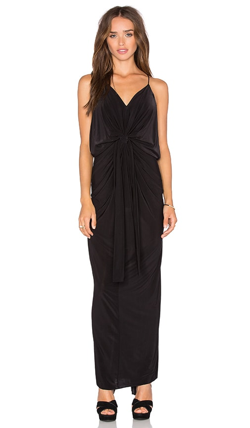 MISA Los Angeles Domino Tie Front Maxi Dress in Black