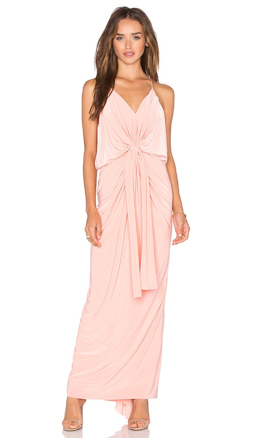 MISA Los Angeles Domino Tie Front Maxi Dress in Coral