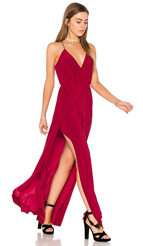 MISA Los Angeles Nola Double Slit Maxi Dress in Red
