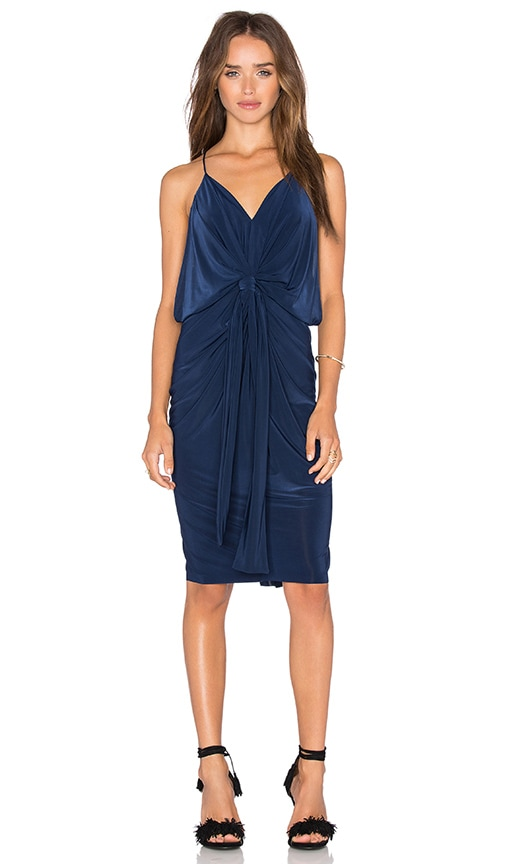 MISA Los Angeles Domino Tie Front Midi Dress in Navy