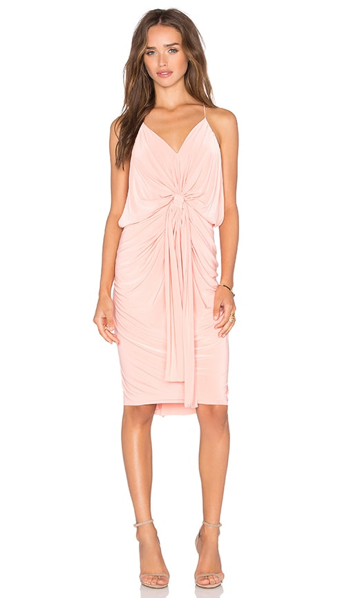 MISA Los Angeles Domino Tie Front Midi Dress in Coral