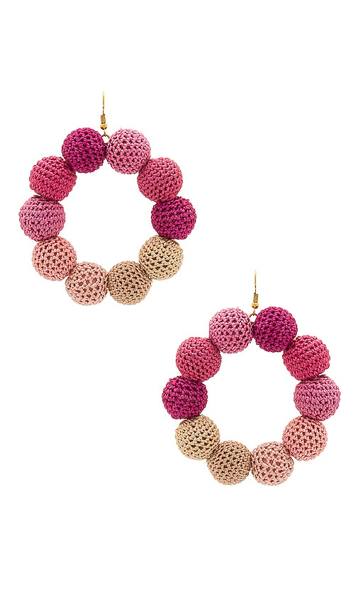 MISA Los Angeles Crochet Dots Earrings in Pink