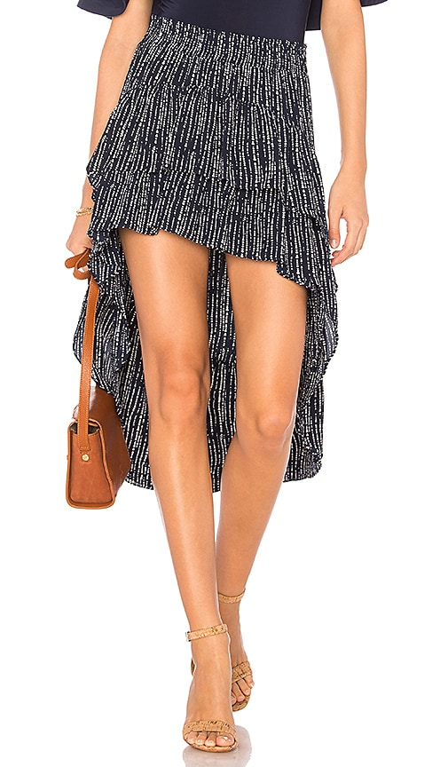 MISA Los Angeles Andra Hi Low Skirt in Navy