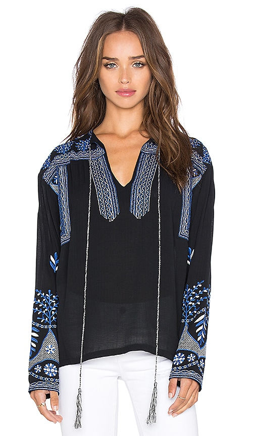 MISA Los Angeles Luna Embroidery Top in Black