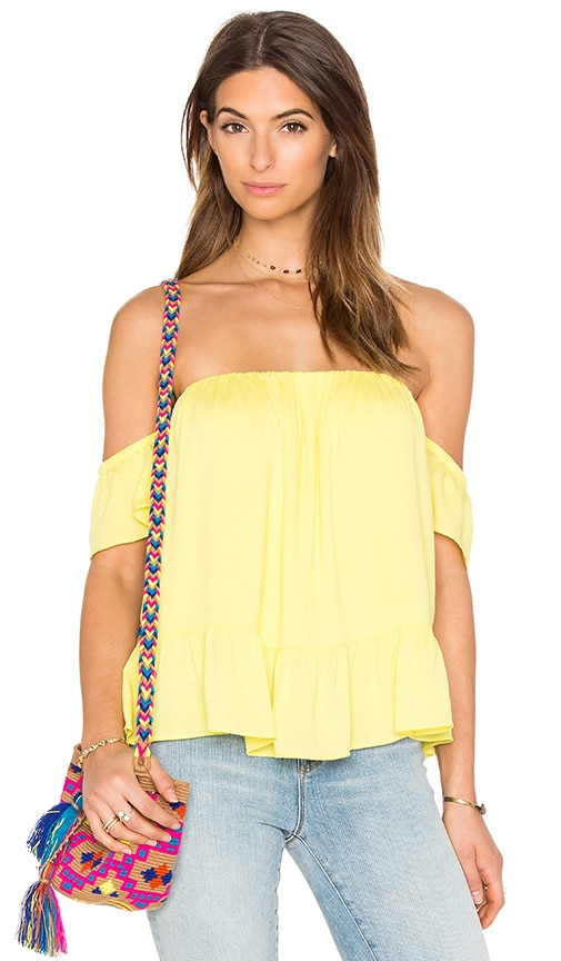 MISA Los Angeles Anais Off Shoulder Top in Yellow