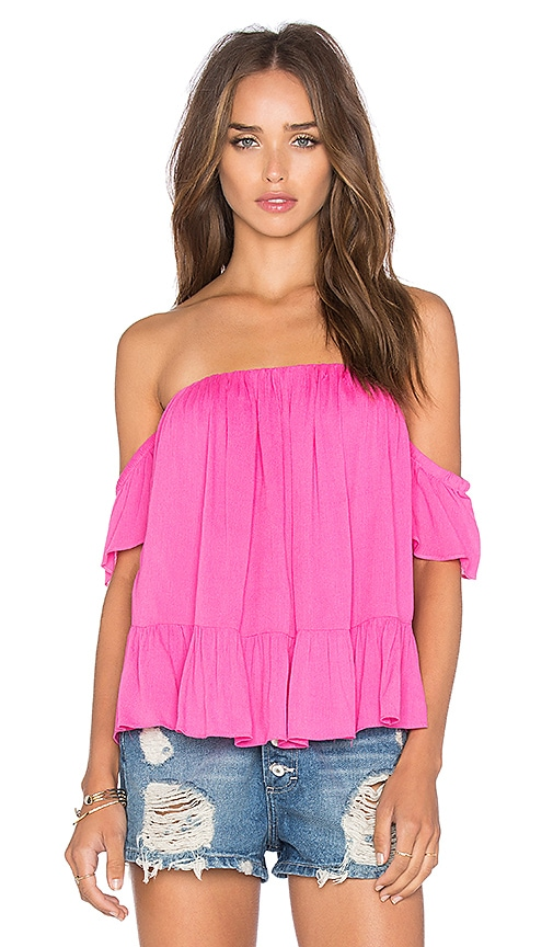 MISA Los Angeles Anais Off Shoulder Top in Fuchsia