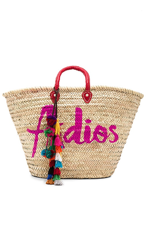 MISA Los Angeles Marrakesh Adios Bag With Lucja Multi Pom Pom in Beige
