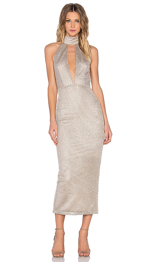 Misha Collection Volante Dress in Metallic Gold