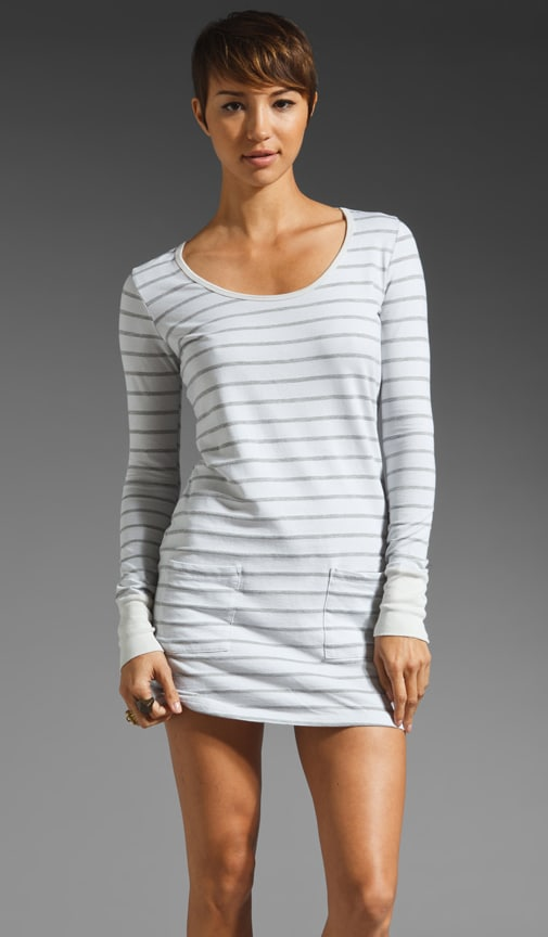 French Terry Stripe Long Sleeve Pocket Front Dress
