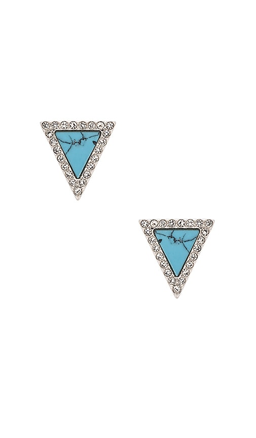Michael Kors Triangle Stud Earring in Silver & Turquoise