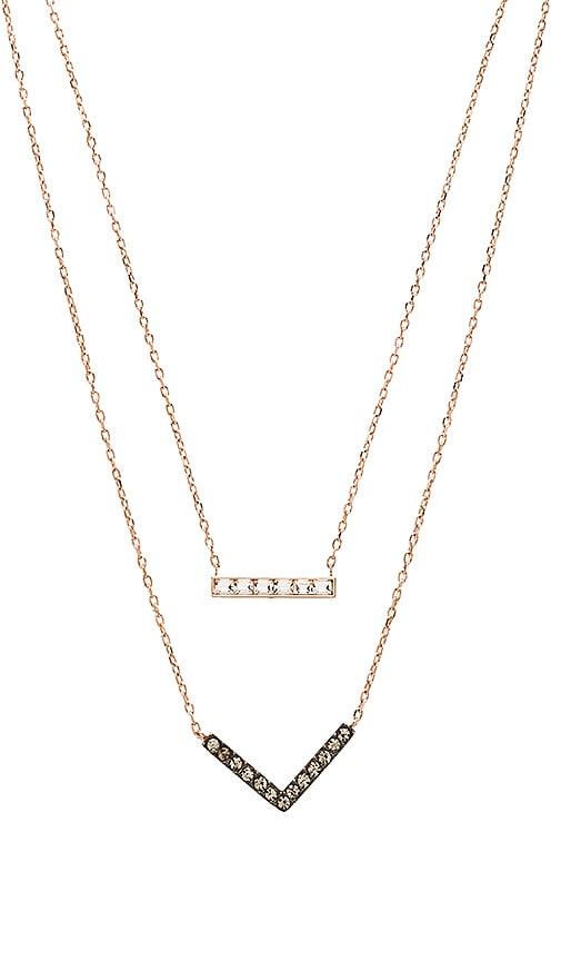 Bar & Arrow Double Chain Pendant Necklace