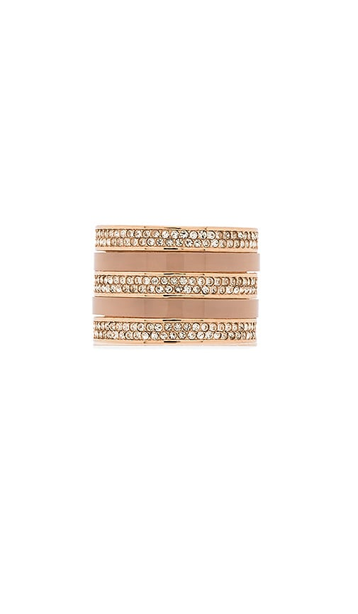 Michael Kors Acetate & Pave Barrel Ring in Rose Gold & Blush & Clear