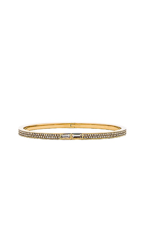 Michael Kors Pave Skinny Hinged Bracelet in Gold & Clear