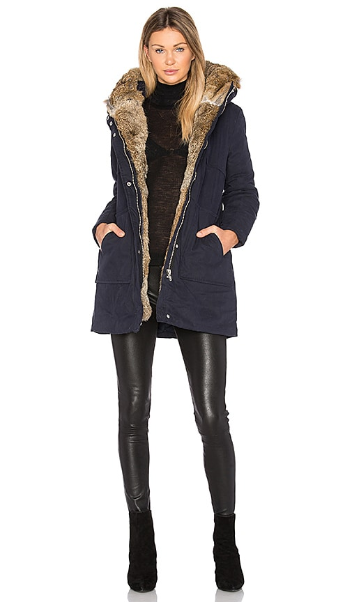 MKT studio Mantiki Rabbit Fur Collar Parka Coat in Navy