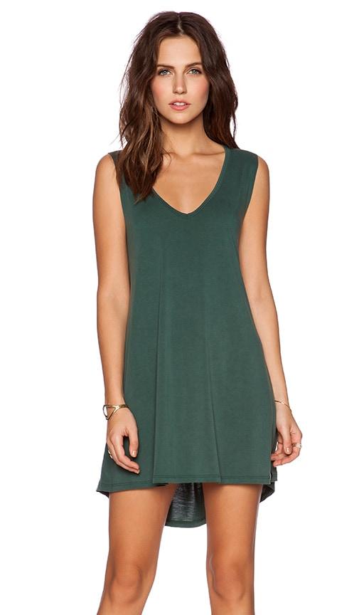 Michael Lauren Diamond V Neck Dress in Green