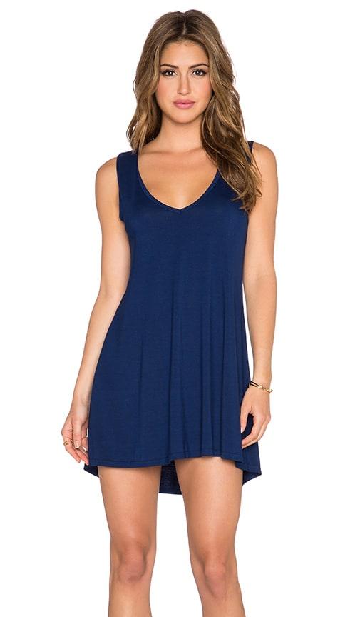 Michael Lauren Diamond V Neck Dress in Blue Magic