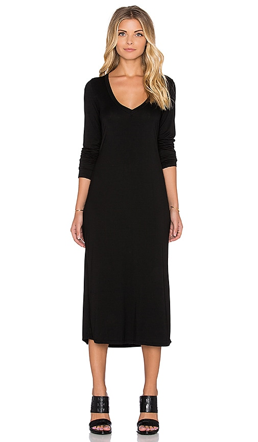 Michael Lauren Rivera Long Sleeve V Neck Midi Dress in Black