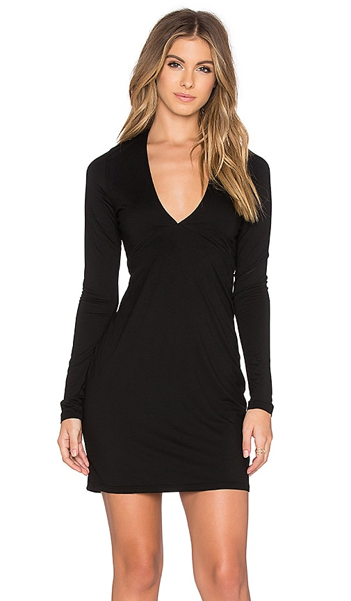 Michael Lauren Kato Deep V Mini Dress in Black