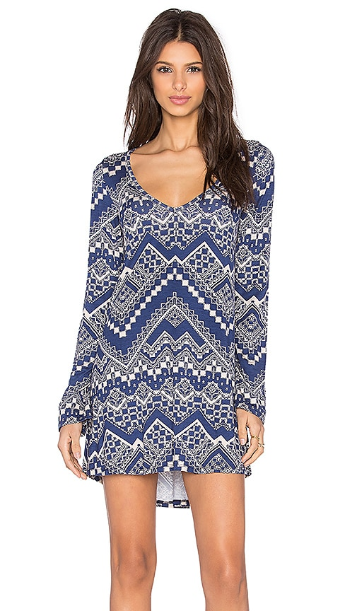 Michael Lauren Kyle Long Sleeve Dress in Blue Zig