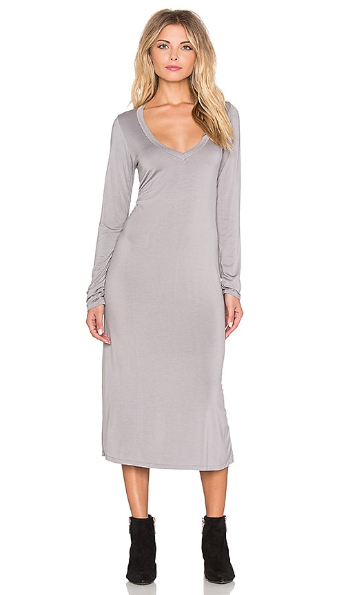 Michael Lauren Rivera Long Sleeve V Neck Midi Dress in Willow Grey