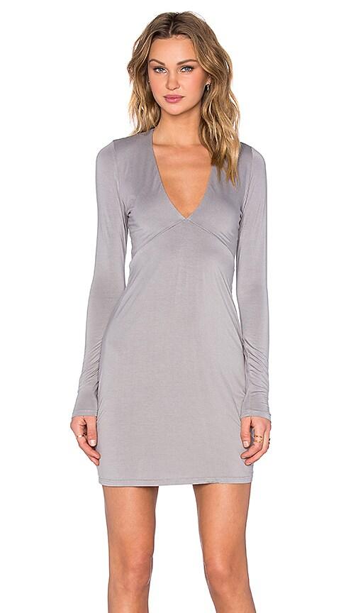 Michael Lauren Kato Deep V Mini Dress in Willow Grey