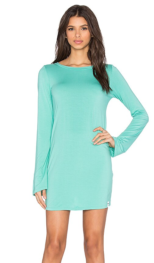 Michael Lauren Rocket Long Sleeve Crew Neck Dress in Green
