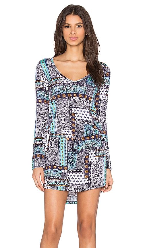 Michael Lauren Noel Long Sleeve V-Neck Dress in Blue