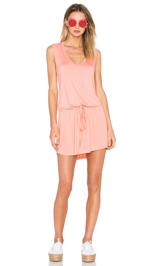 Michael Lauren Joop Mini Dress in Pink Salmon
