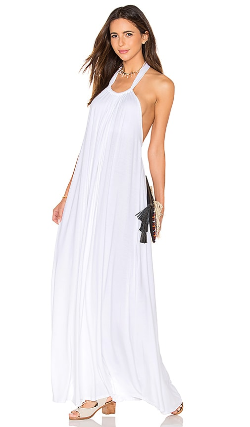 Michael Lauren French Halter Maxi Dress in White